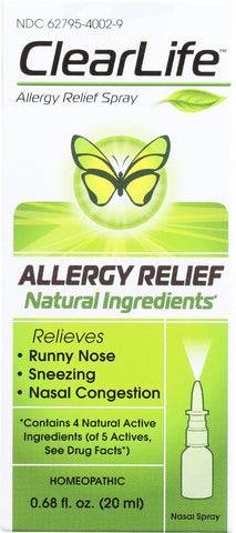 Clearlife Nasal Spray - Allergy Relief - 20 Ml