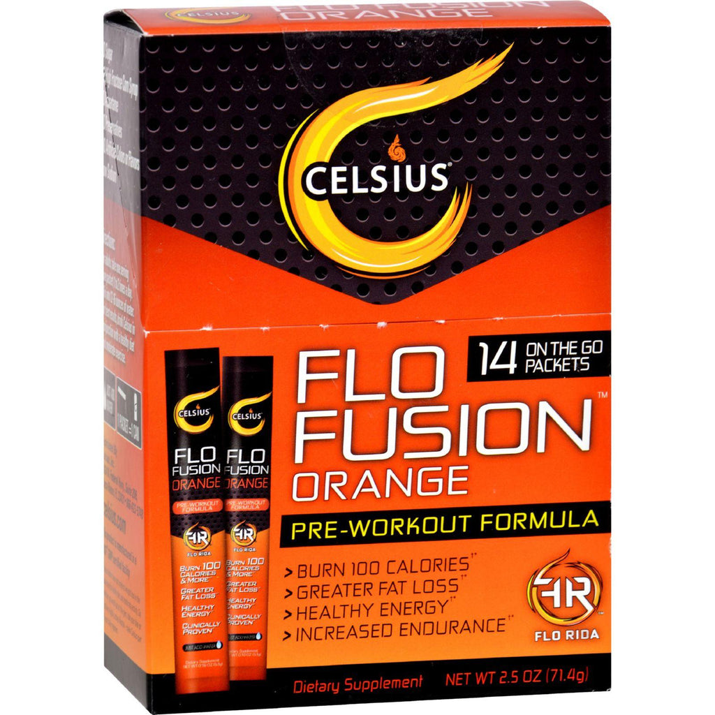 Celsius Flo Fusion - Powder Sticks - Orange - 14 Packets