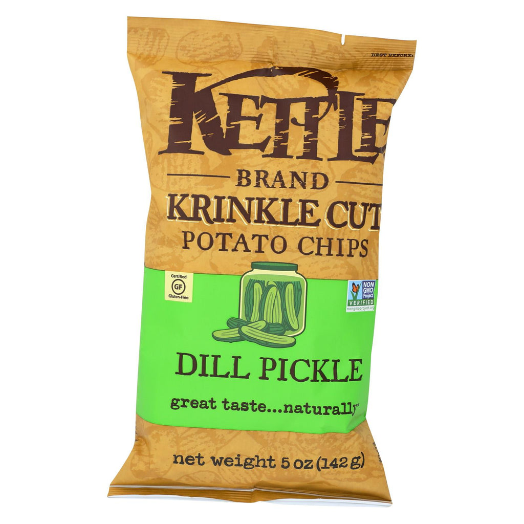 Kettle Brand Krinkle Cut Potato Chips - Dill Pickle - Case Of 15 - 5 Oz.