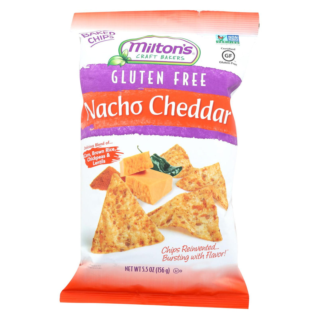 Miltons Gluten Free Baked Chips - Nacho Cheddar - Case Of 12 - 5.5 Oz.