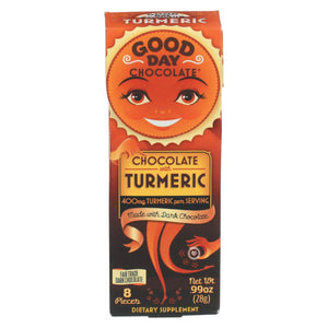 Good Day Chocolate Chocolate Pieces - With Turmeric - Case Of 12 - .99 Oz
