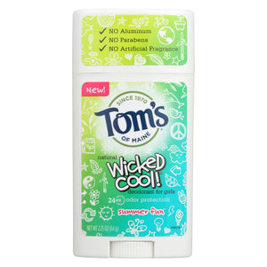 Tom's Of Maine Deodorant Stick - Wicked Cool - Girls - Case Of 6 - 2.25 Oz