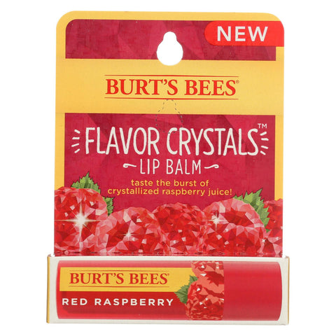 Burts Bees Lip Balm - Flavor Crystals - Red Raspberry - Case Of 6 - 0.16 Oz
