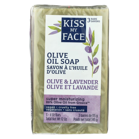 Kiss My Face Bar Soap - Pure Olive Oil & Lavender - 3-4 Oz