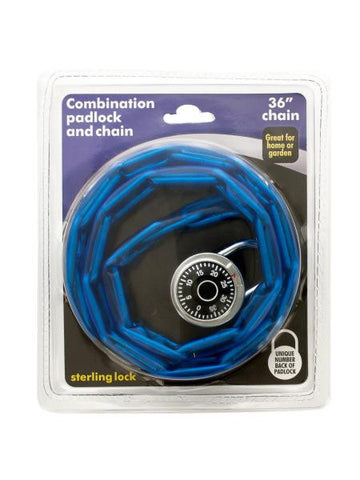 Combination Padlock and Plastic-Covered Chain Set (Available in a pack of 4)