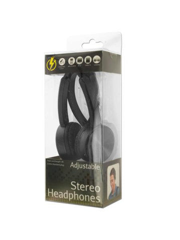 Black Adjustable Stereo Headphones (Available in a pack of 4)