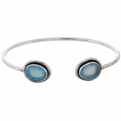 Arvino 925 Sterling Silver Bangle With Blue Chalcedony or Labradorite Stone-Arvino Online