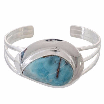 Arvino 925 Sterling Silver Bangle With Graceful Larimar Gemstone-Arvino Online