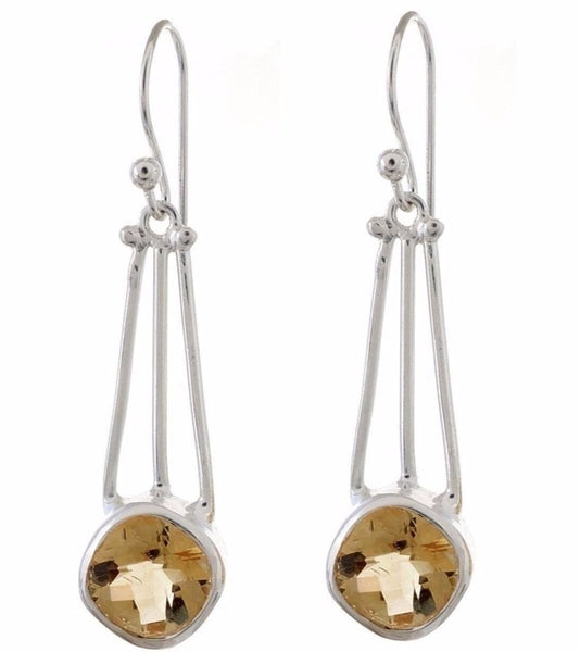 Arvino 925 Sterling Silver Dangle Earring With Citrine Gemstone-Arvino Online