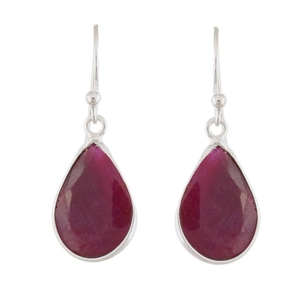 Arvino 925 Sterling Silver Dangle Earring With Dyed Ruby Gemstone-Arvino Online