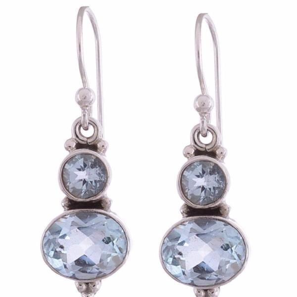 Arvino 925 Sterling Silver Earring with Blue Topaz Gemstone-Arvino Online