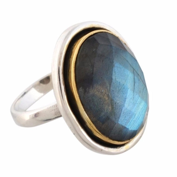 Arvino 925 Sterling Silver Ladies Ring With Labradorite Gemstone-Arvino Online