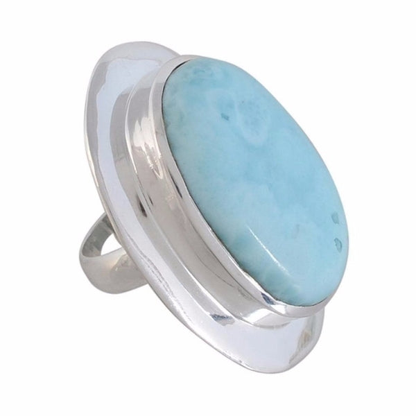 Arvino 925 Sterling Silver Ladies Ring with Larimar Gemstone-Arvino Online