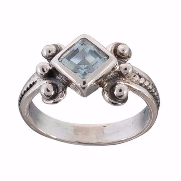 Arvino 925 Sterling Silver Ring With Blue Topaz Gemstone-Arvino Online