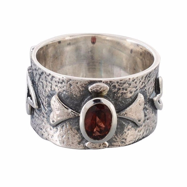 Arvino 925 Sterling Silver Ring With Garnet Gemstone-Arvino Online