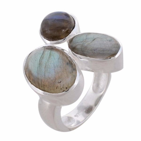 Arvino 925 Sterling Silver Ring With Labradorite Gemstone-Arvino Online