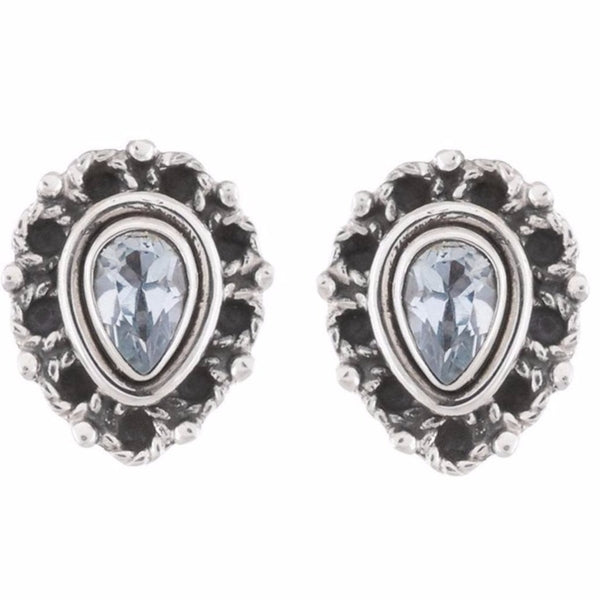 Arvino 925 Sterling Silver Stud Earring With Blue Topaz Gemstone-Arvino Online