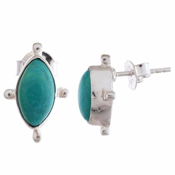 Arvino 925 Sterling Silver Stud Earrings With Larimar Gemstone-Arvino Online