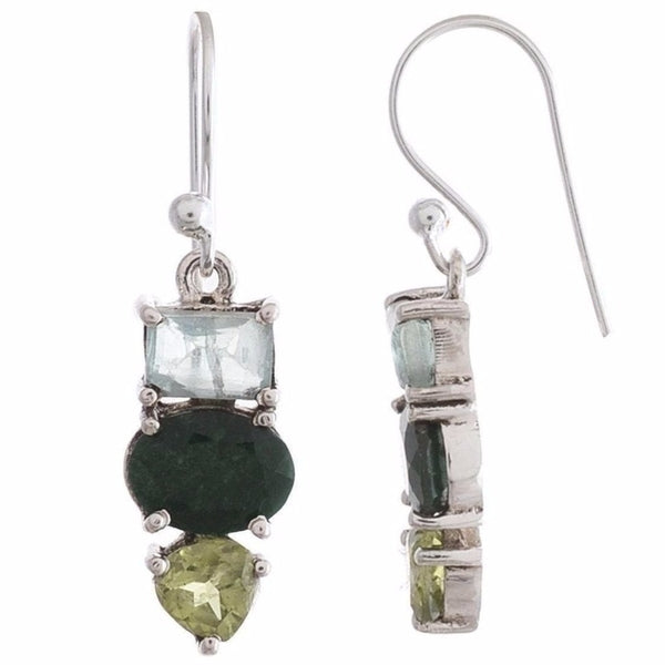 Arvino 925 Sterling Silver Three Stone Earring For Women with multi Gemstones-Arvino Online