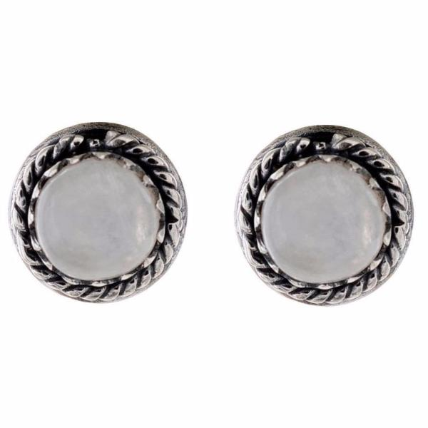 Arvino Handmade 925 Sterling Silver Earring Stud With Twisted Wire Gem