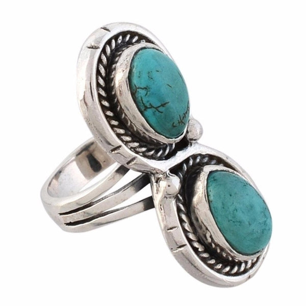 Arvino Infinity 925 Sterling Silver Ring With Turquoise Gemstone-Arvino Online
