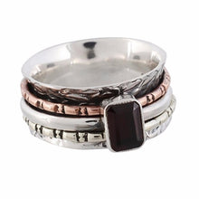 Arvino Movable Three Tone Silver Ring With Garnet Gemstone-Arvino Online