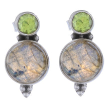 Arvino Silver Dangle Earring with Peridot & Labradorite Gemstone-Arvino Online