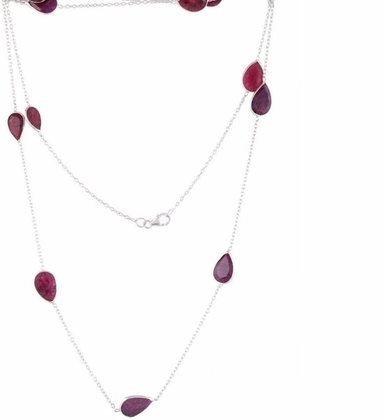 Arvino Silver Station Necklace With Ruby Gemstone-Arvino Online
