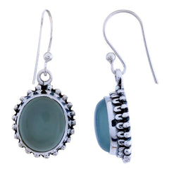 Arvino Sterling Silver Dangle Earring with Aqua Chalcedony Gemstone-Arvino Online