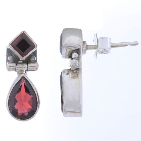 Arvino Sterling Silver Dangle Earring with GARNET Gemstone