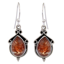 Arvino Sterling Silver Dangle Earring with Sun Stone-Arvino Online