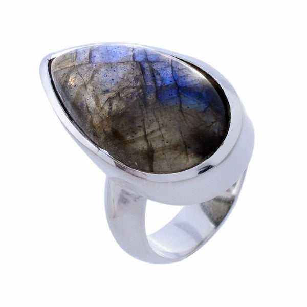 Arvino Sterling Silver Ring with Labradorite Gemstone-Arvino Jewelry