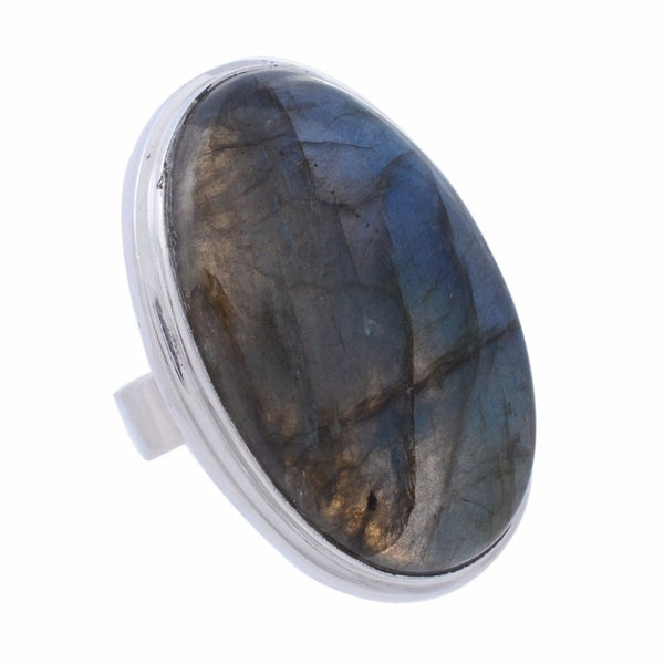 Arvino Sterling Silver Ring with Labradorite Gemstone-Arvino Online