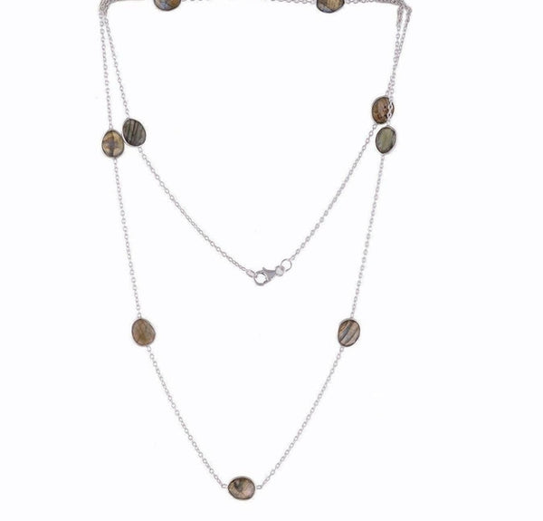 Arvino Sterling Silver Station Necklace With Labradorite Gemstone-Arvino Online