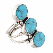 Arvino Three Stone 925 Sterling Silver Ring With Turquoise Gemstone-Arvino Online