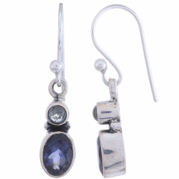 Sterling Silver Dangle Earring with Blue Topaz or Iolite Gemstone-Arvino Jewelry