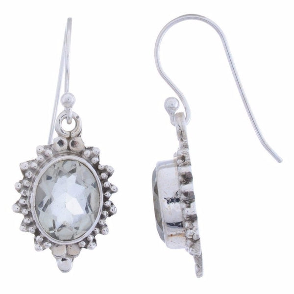 Sterling Silver Dangle Earring with Green Amethyst Gemstone-Arvino Jewelry