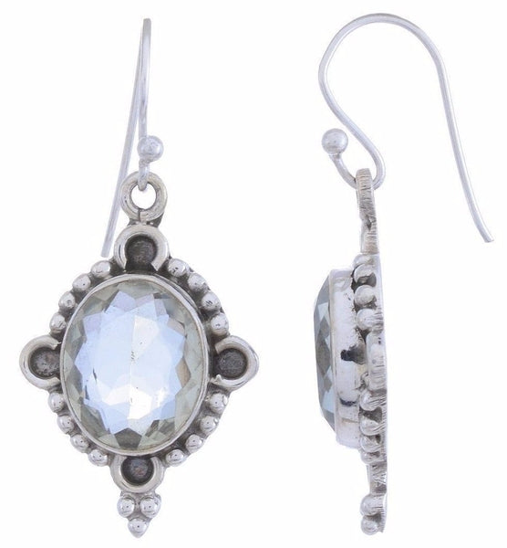 Sterling Silver Dangle Earring with Green Amethyst Gemstone-Arvino Online