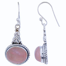 Sterling Silver Dangle Earring with Rose Quartz Gemstone-Arvino Jewelry