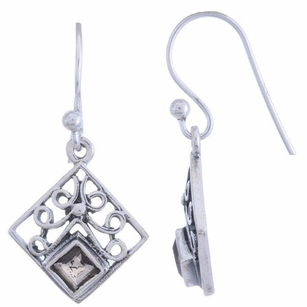 Sterling Silver Dangle Earring with Smoky Quartz Gemstone-Arvino Online