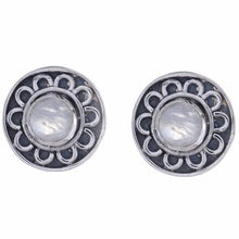 Sterling Silver Stud Earring with Rainbow Moon Stone-Arvino Jewelry