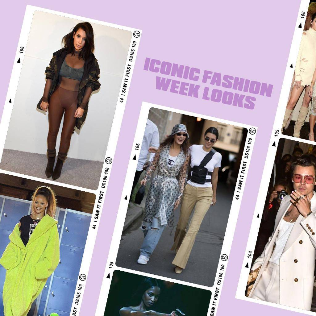 Iconic celebrity fashion week looks.