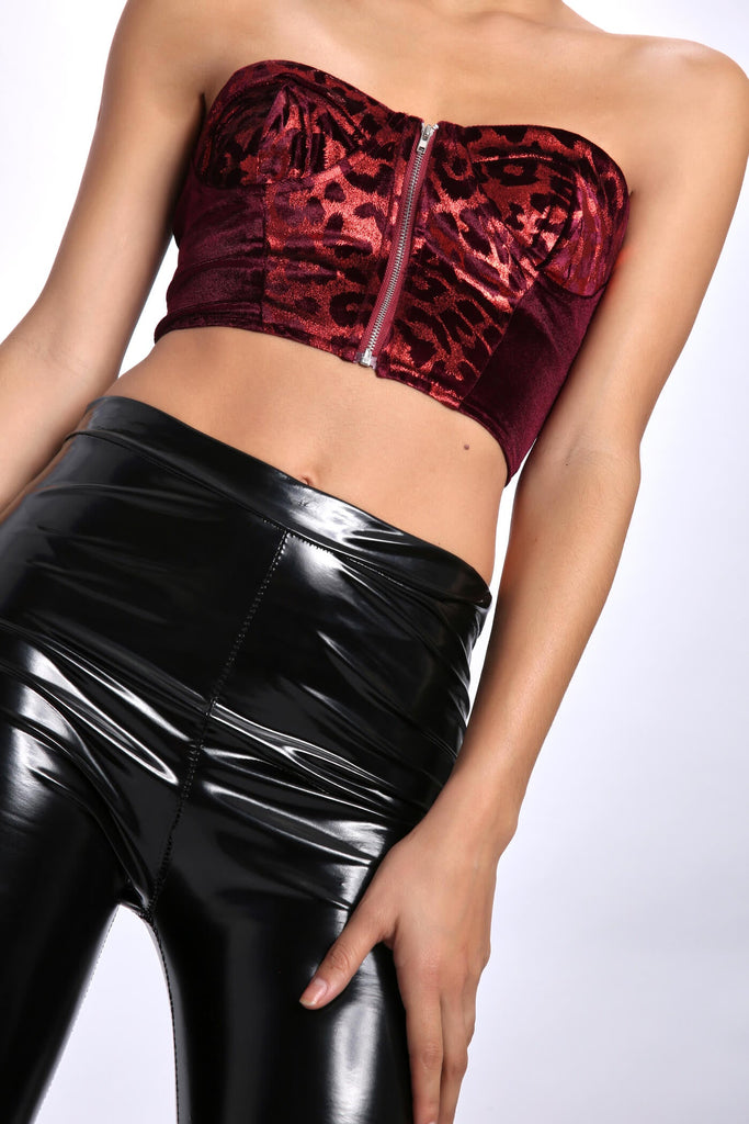 Burgundy Leopard Zip Velvet Body