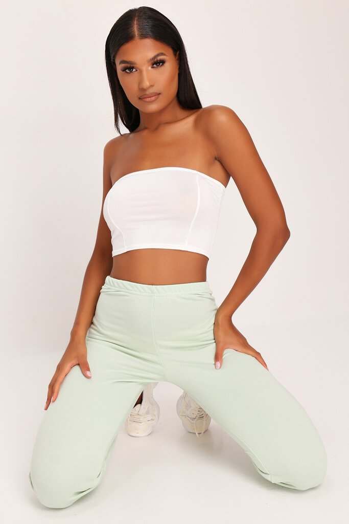 Cream Slinky Bandeau Crop Top view main view