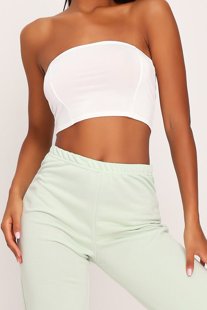 Cream Slinky Bandeau Crop Top view 4