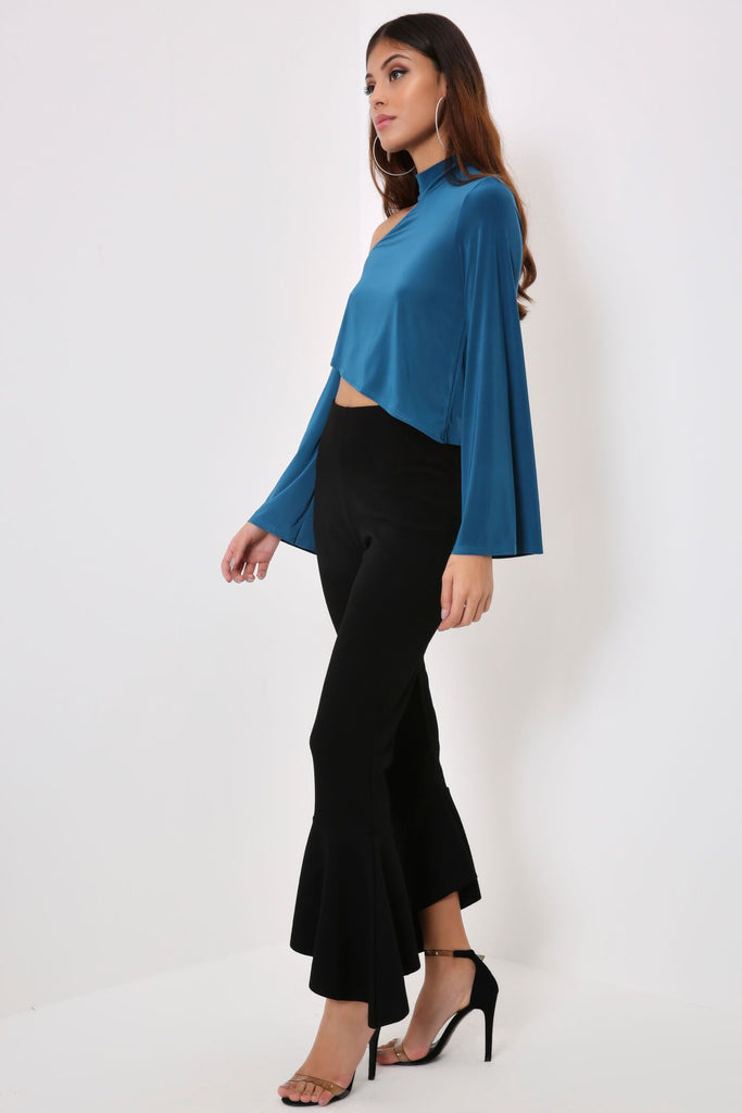 Teal Slinky Cut Out Long Sleeve Crop Top