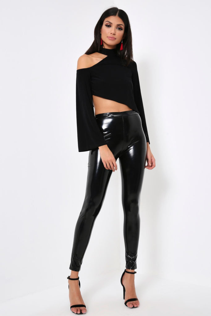 Black Slinky Cut Out Long Sleeve Top
