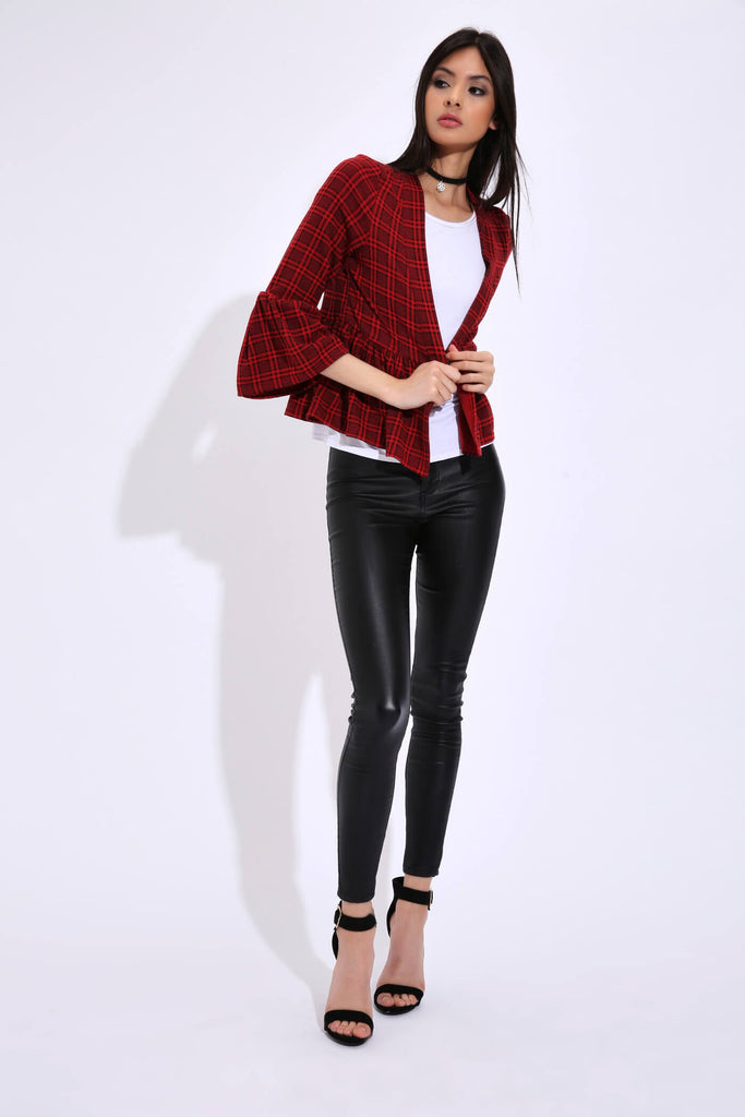 Red Check Ruffle Jacket