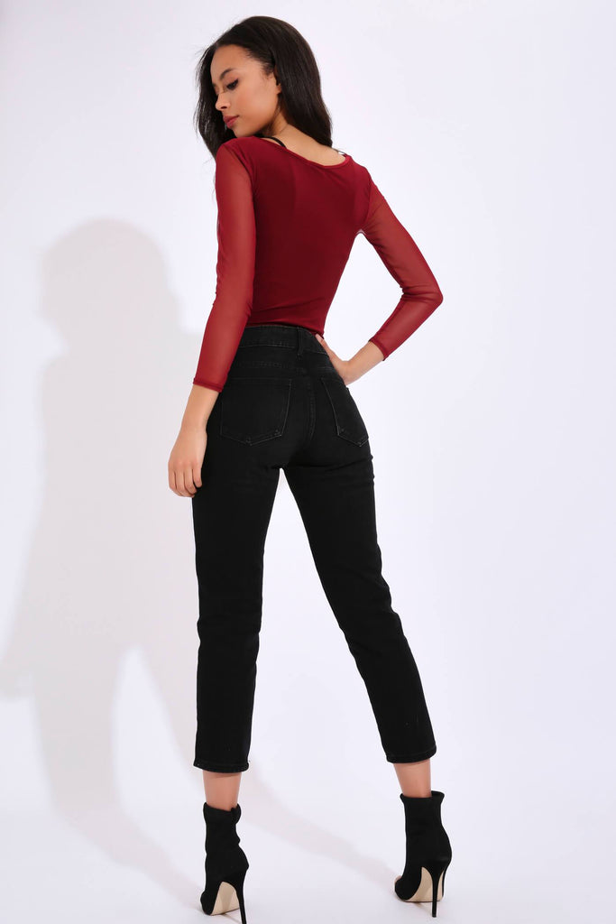 Berry Cut Out Mesh Sleeve Bodysuit