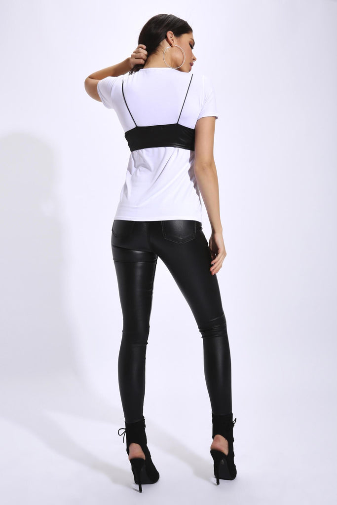 Black Tie Front Top With Elastic Straps